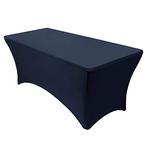 VEEYOO 6 Feet Rectangular Polyester/Spandex Stretch Table Cover Tight Fitted Tablecloth for Wedding Party Banquet Trade show, Navy Blue