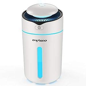 CACAGOO Humidificador Ultrasónico, Coche (Niebla de 2 Niveles, 7 Colores LED, Apagado Automático y Carga USB, Diseñado para Portavasos de Automóviles) Humidificador Ultrasónico Silencioso, Blanco