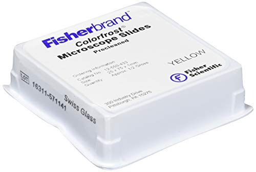 Fisher Scientific 12-550-433 Glass ColorFrost Disposable Microscope Slides, 10.5' Length, 10' Width, Yellow (Pack of 144)
