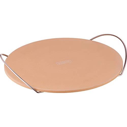 Kaiser Inspiration Pizzastein rund, Ø 38 cm, Keramikstein mit Halterung für Pizza, Flammkuchen, Brot Backofen, Holzkohle und Gasgrill geeignet