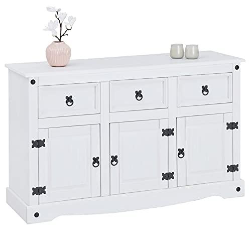 IDIMEX Buffet Rural Commode bahut vaisselier en pin Massif Blanc avec 3 tiroirs et 3 Portes, Meuble de Rangement Style Mexicain en Bois dim 125 x 76 x 40 cm