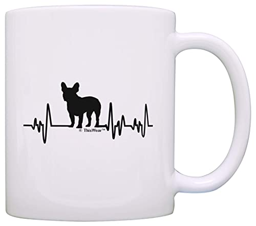 N\A Bulldog Francese Presente per Le Donne Amante dei Cani Battito Cardiaco Bulldog Francese Presente a Tema Cane Amante del Bulldog Francese Tazza da caffè Tazza da tè Bianco 23U041