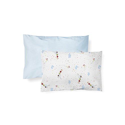 Papi Textil Fronha Lisa E Estampada, Azul, 40Cmx28Cm, Pacote De 2