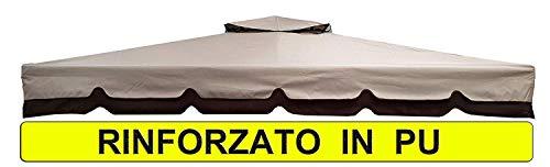 MICHELE SOGARI Telo Ricambio Rinforzato in PU Copertura Gazebo 3X3 250 gr Ricambio Camino Antivento Antipioggia 3 X 3