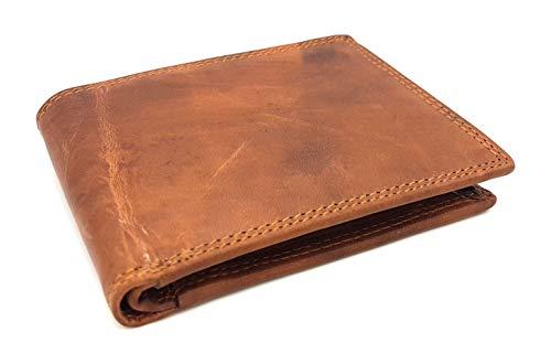 Flache echt Büffel Voll-Leder Geldbörse, naturbelassenes Hunterleder Portemonnaie mit RFID NFC Schutz