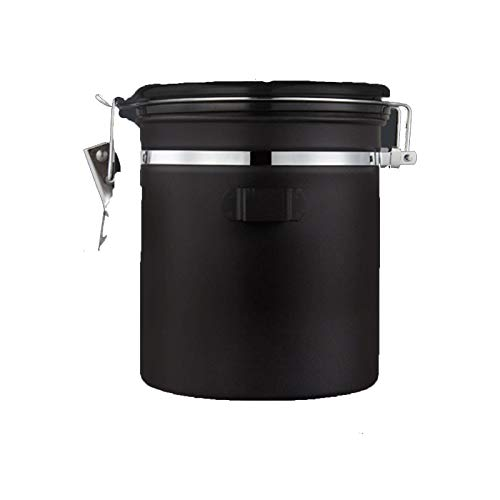 HOLPPO Coffee Canister One-Way Exhaust Air Tight Tank, 304 Stainless Steel Storage Container, for Sugar Food Coffee Beans Powder Tea Airtight, with Co2 Valve and Date Tracking Wheel (Size : 1800ml)