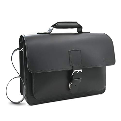 Konferenztasche, Aktentasche Skopie aus schwarzem Leder, Außenmaße: 38 x 28 x 9,5 cm