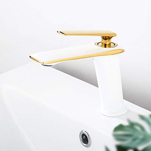 SJIUH Grifo de baño Grifos de Lavabo Grifo de latón Blanco y Dorado Grifo de Lavabo de baño Grifo de Lavabo de una manija Inodoro montado en la Cubierta Grifo de Agua Caliente y fría, Blanco y dor