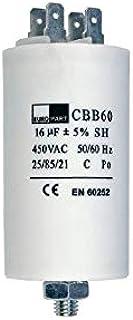 Kondensator mit Steckfahnen und Befestigungsschraube CBB60 16,00µF 450 Volt