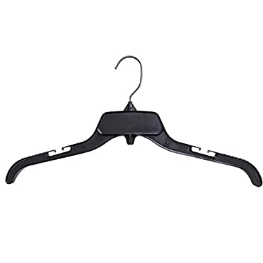 Hanger Central Recycled Black Heavy Duty Plastic Top Hangers with Polished Metal Swivel Hooks Shirt Hangers, 17 Inch, Black, 100 Pack