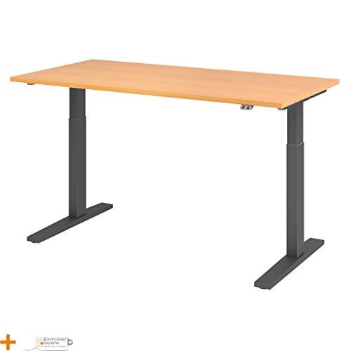 Schreibtisch höhenverstellbar Bürotisch Computertisch Serie-XMKA 160 x 80 cm Rechteck Buche Graphit
