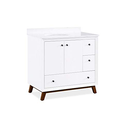 Dorel Living Bleeker 36 Inch, White Bathroom Vanity, 36