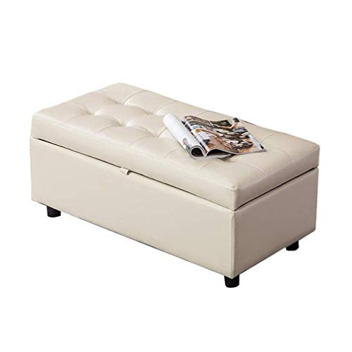 QXX zitkubus van kunstleer, rechthoekig, houder van hout, woonkamer, sofa, slaapkamer, lattenbodem (kleur: bruin) TENW1270r-1 Tenw1270r-1
