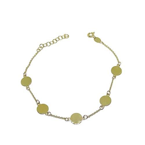 Never Say Never Armband 5 Kreise 7 mm Durchmesser Alles Gelbgold 18 k 20 cm lang Verschluss Federring.