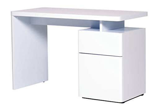 Amazon Marke -Movian Ohrid - Schreibtisch mit 1 Tür und 1 Schublade, 120x55x76cm, Hochglanz Weiß