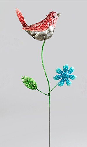 Klp Gartenstecker Vogel Blume Metall Gartendeko Beetstecker Rosenkugel Deko Stab