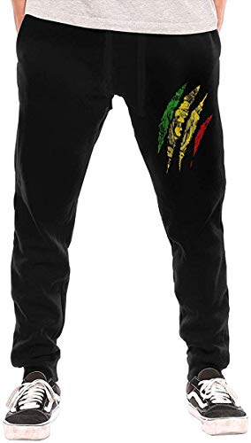 ishengx Jogginghose Herren Warrior Lion of Judah King Rasta Reggae Jamaica Roots Drawstring Waist,100% Cotton,Elastic Waist Cuffed,Jogger Sweatpants