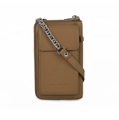 Lara Laurén City Wallet C Geldbörse und Handtasche aus hochwertigem Leder mit Tragriemen Kette/Leder kombiniert Maße 19,5 x 12 x 4cm (Dark Taupe)