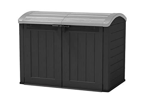 Keter Aufbewahrungsbox/Mülltonnenbox Store it Out Ultra, Anthrazit, 2000 Liter Stauraum für 2X 240 & 1x 120- oder 2X 360 Liter Mülltonnen - als Mülltonnenbox, Fahrradgarage oder Geräteschrank nutzbar