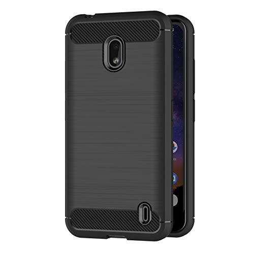AICEK Hülle Compatible Nokia 2.2, Schwarz Silikon Handyhülle für Nokia 2.2 Schutzhülle Karbon Optik Soft Case (5,71 Zoll)