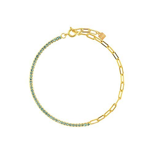 Pulsera de cadena de circonita arcoíris de plata 925 para mujer, bonita joyería de moda Rock Punk, regalo colorido y colorido, pulsera verde de 18 cm