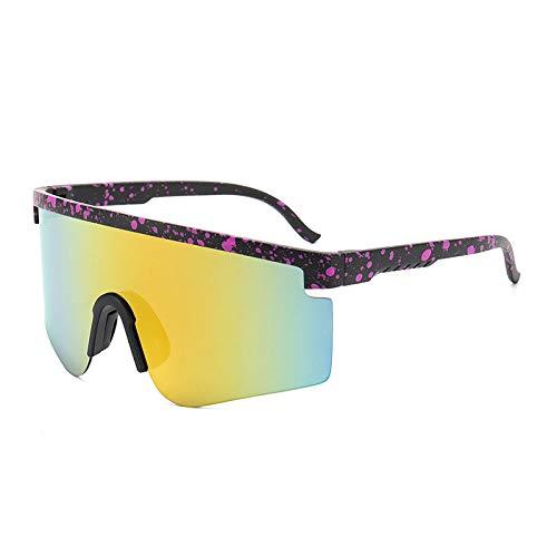 Gafas De Sol Polarizadas para Hombres Lente Amarilla De Moda Liviana Puntos Morados Negro Medio Marco Gafas De Sol Gafas De Ciclismo para Exteriores Deportes Conducción Gafas De Ciclismo Ga