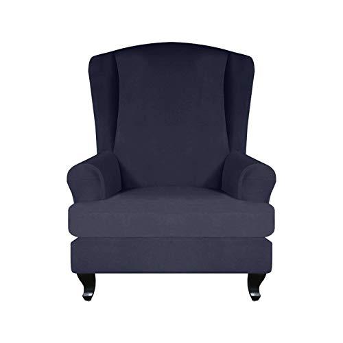 ZHFEL 2 Pcs Funda de Sillón Elástica Orejero,Butaca Protector de Muebles 1 Plaza Color sólido con Funda Cojín Independiente Extraíbles Lavables Universal Suaves Funda de sillón-Azul Marino