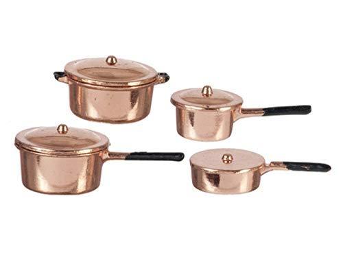 Melody Jane Maison de Poupées Cuivre Casserole Jeu de Poêle Miniature Accessoire de Cuisine