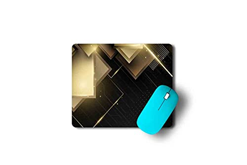Designer Mouse Pad|Golden and Black|Mouse Pad for Computer Accessories, PC, Laptop|Ultimate Grip, Anti-Slippery, Dust Free, Rectangular Mouse Pad Without Wrist Support|Friendly for All Types of Mouse