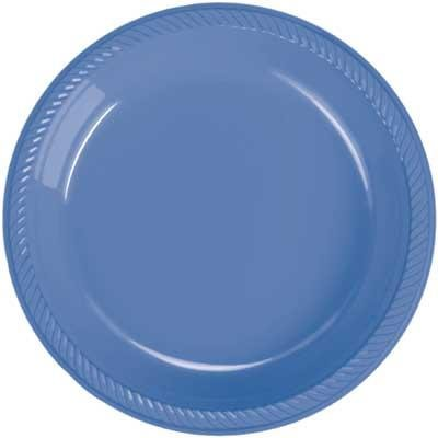 Periwinkle Blue Plastic Dessert Plates - Periwinkle Blue Plates - 20 Count