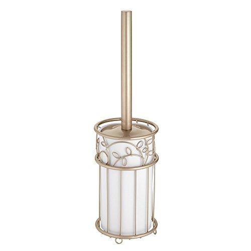 iDesign Twigz WC Bürstengarnitur | Toilettenbürste und Halter für Hygiene im Bad | rostfreier Toilettenbürstenhalter mit Schutzabdeckung | Kunststoff champagner