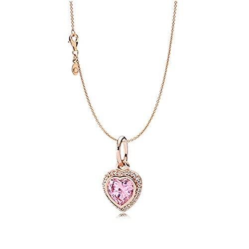 HALLTYG collarCollar de Plata de Ley con diseño de Pan, corazón Femenino, Collar en Forma de corazón del Día de San Valentín, joyería de Moda