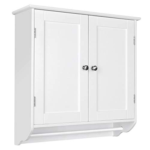 HOMFA Bathroom Wall Cabinet, Over The Toilet Space Saver Storage Cabinet Kitchen Medicine Cabinet Doule Door Cupboard with Adjustable Shelf and Towels Bar, White