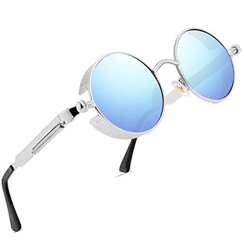 FEIDU Retro Vintage Runde sonnenbrille herren - Polarisiert mit rundem Metallrahmen,sonnenbrille damen FD 3013 (Y-Blau Silber, 1.81)