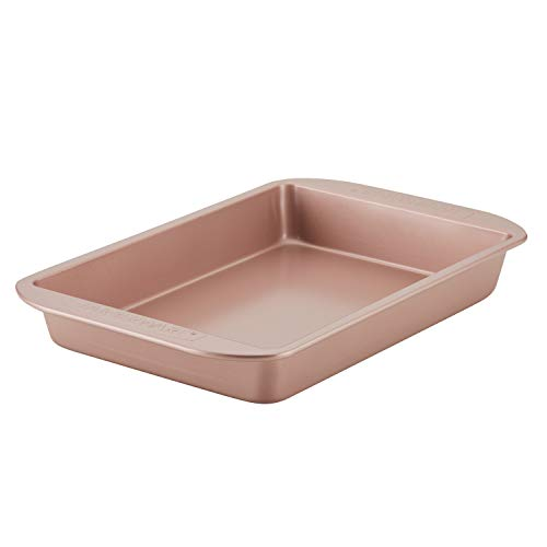 Farberware Baking Nonstick Cake Pan, Rectangle, 9 Inch x 13 Inch, Red Rose Gold