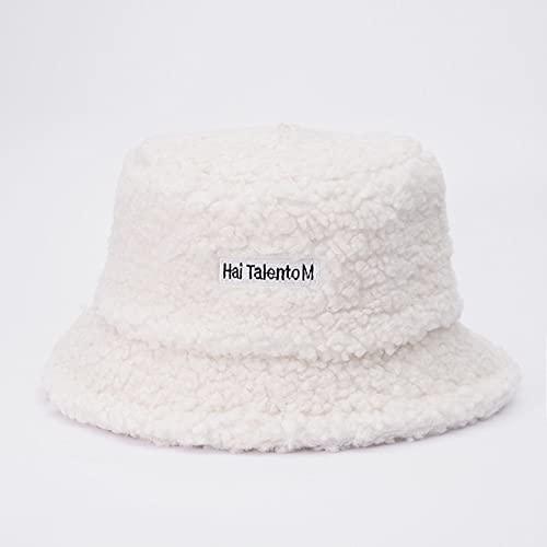 Sombrero de Cubo Gorros de Invierno cálidos y Gruesos para Mujer, Sombrero de Pescador de Felpa al Aire Libre para Mujer-Letter Milk White
