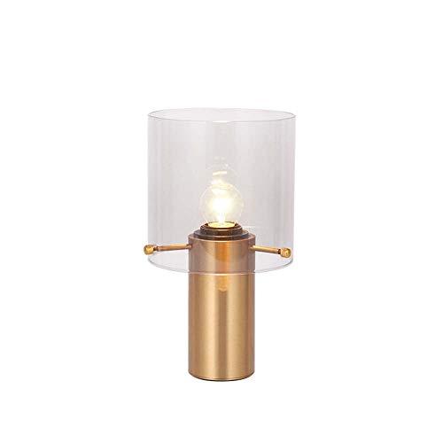 NoNo Zylindrische Glastischlampe Nachttischlampe, Messing Laternenpfahl-, E27 Schraube Hafen, Gute Optische Leistung