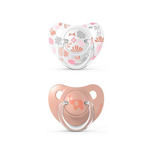 Suavinex 307155 Pack Chupetes para Bebés, Chupete con Tetina Anatómica de Silicona, Rosa 6-18 Meses, 2 Unidades