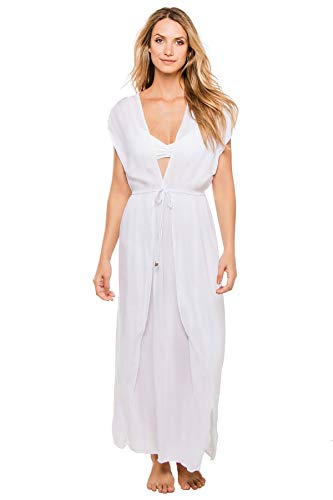 Elan International Women's Deep V Adjustable Waist Caftan Swim Cover Up White L