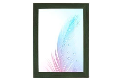 Duisburger-Rahmen24 DR24 fotolijst (groen) op maat, houten frame van MDF 35 mm breed, inclusief synthetisch glas, niet-verblindend, stabiele achterwand, vouwpennen en haken 25 x 100 cm Verde Sfocato