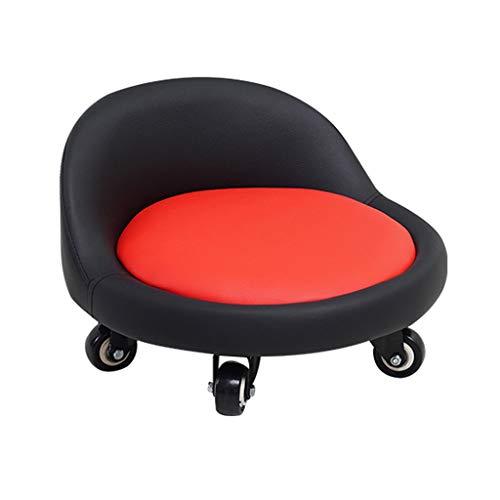 QFdd Petites chaises de 14 cm avec Roues, Banc Mobile Enroulable, avec Dossier rembourré Faible Siège pour Enfants Adulte Accroupi sur Le Sol Jeu Apprendre 2 Couleurs
