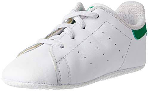 Adidas Stan Smith Crib, Zapatillas Unisex bebé, Blanco (Footwear White/Footwear White/Green 0), 18 EU