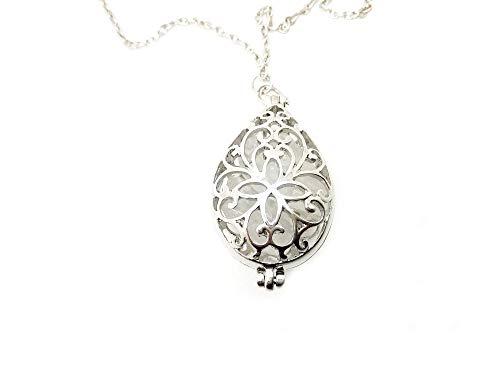 Amuleto talismán Collar Relicario de piedras preciosas con cuarzo blanco natural