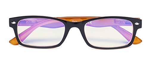 Blue Light Filter Eyeglasses,Reduce Eyestrain Readers,Anti Blue Rays,UV Protection,Computer Reading Glasses for Men Women(Black-Yellow) +1.25