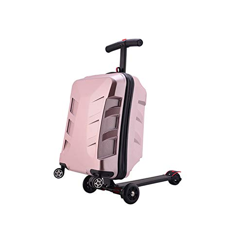Luggage-foldable scooter suitcase with multi-functional suitcase fashion style travel(20 inch) (Purple)