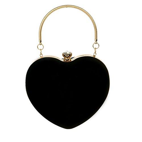 Bolso de mano de gamuza para mujer con forma de corazón, de ZLMBAGUK, bolso de noche, fiesta, con cadena y anillo, color Negro, talla Talla única