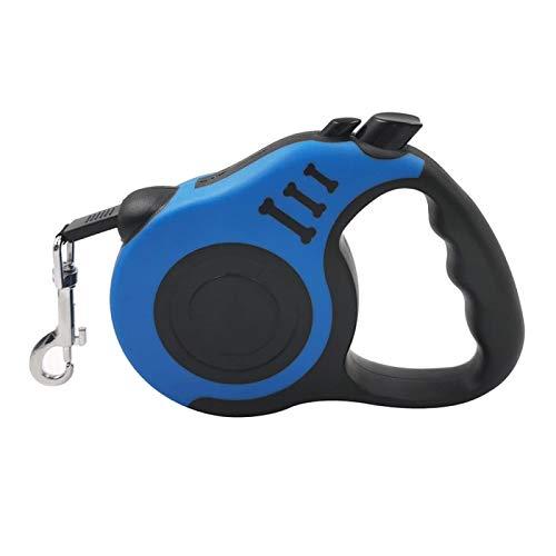 WWWL Correa de perro duradera para perro retráctil automática de nailon para gato extensible para cachorros caminando y corriendo ruleta para perros de 3 m azul