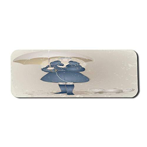 Alfombrilla para ratón tipo paraguas, estilo boceto dibujado a mano, chica de pelo rizado con abrigo y perro con correa, alfombrilla rectangular de goma antideslizante, grande, azul oscuro y crema