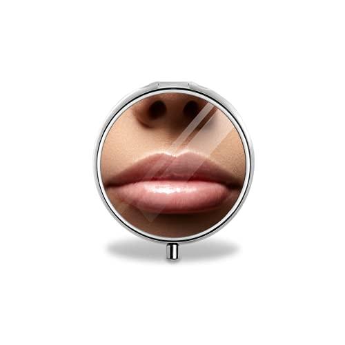 Pastillero portátil, close up perfect natural lip makeup beautiful female mouth plump sexy full lips macro photo face detorganizador portátil del tenedor de la vitamina de la tableta de la medicina