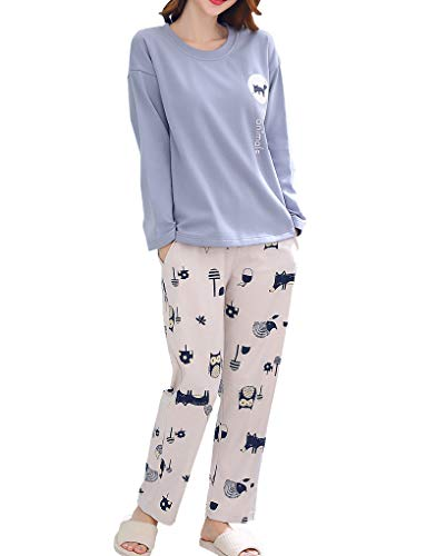 Vopmocld Cute Owl Pajama Sets Lovely Cartoon Fox Peacock Printed Sleepwear for Big Girls Blue